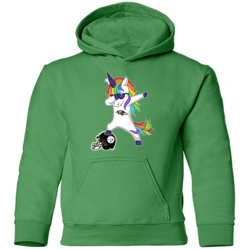 Football Dabbing Unicorn Steps On Helmet Baltimore Ravens Shirts Youth Hoodie