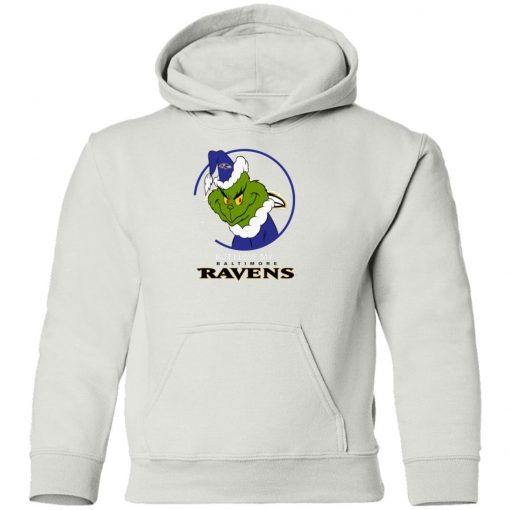 I Hate People But I Love My Baltimore Ravens Grinch NFL Shirts Youth Hoodie