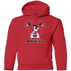 I Love The Ravens Mickey Mouse Baltimore Ravens Youth Hoodie