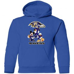 Mickey Donald Goofy The Three Baltimore Ravens Football Shirts Youth Hoodie