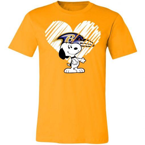 I Love Baltimore Ravans Snoopy In My Heart NFL Shirts Unisex Jersey Tee