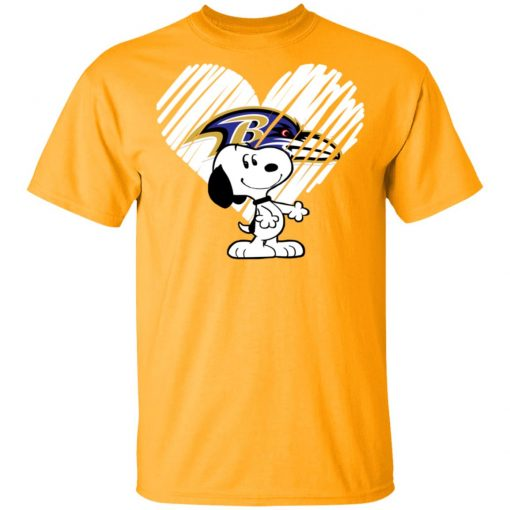 I Love Baltimore Ravans Snoopy In My Heart NFL Shirts Men's T-Shirt