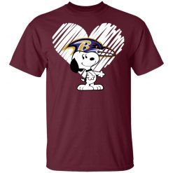I Love Baltimore Ravans Snoopy In My Heart NFL Shirts Youth T-Shirt