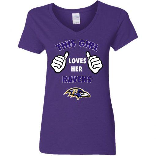 This Girl Loves HER Baltimore Ravens V-Neck T-Shirt
