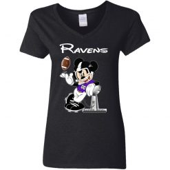 Mickey Ravens Taking The Super Bowl Trophy Football V-Neck T-Shirt