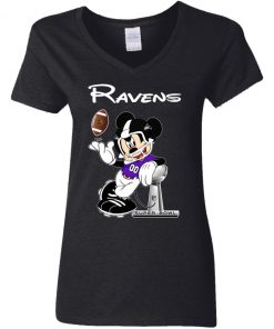 Mickey Ravens Taking The Super Bowl Trophy Football V-Neck T-Shirt
