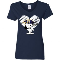 I Love Baltimore Ravans Snoopy In My Heart NFL Shirts V-Neck T-Shirt