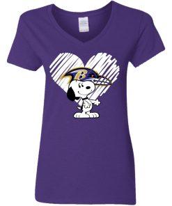 I Love Baltimore Ravans Snoopy In My Heart NFL Shirts V-Neck T-Shirt