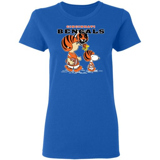 Cincinnati Bengals Let's Play Football Together Snoopy NFL Women's T-Shirt