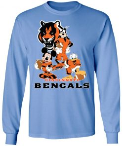 Mickey Donald Goofy The Three Cincinnati Bengals Football Shirts LS T-Shirt