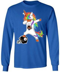 Football Dabbing Unicorn Steps On Helmet Cincinnati Bengals LS T-Shirt