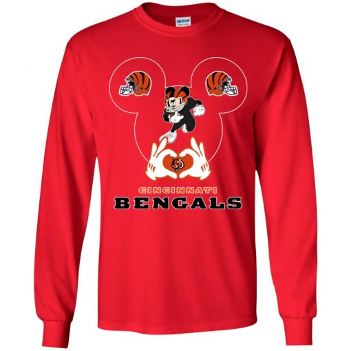 I Love The Bengals Mickey Mouse Cincinnati Bengals Youth LS T-Shirt
