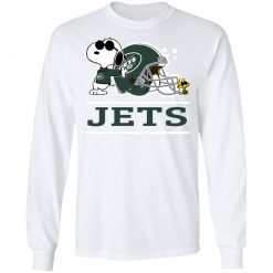 The New York Jets Joe Cool And Woodstock Snoopy Mashup LS T-Shirt