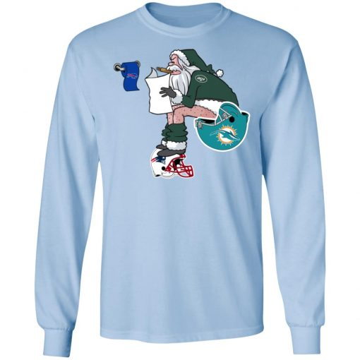 Santa Claus New York Jets Shit On Other Teams Christmas LS T-Shirt