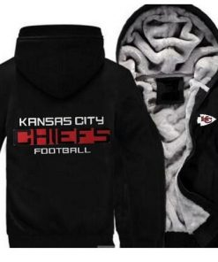 Kansas City Chiefs Football Team Zipper Thicken Hoodie Winter Coat Jacket