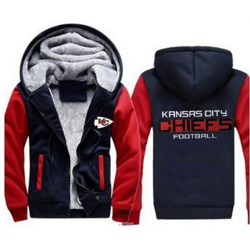 Kansas City Chiefs Football Team Zipper Thicken Hoodie Winter Coat Jacket