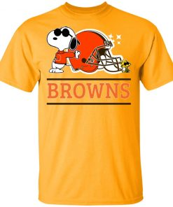 Private: The Ceveland Browns Joe Cool And Woodstock Snoopy Mashup Men's T-Shirt