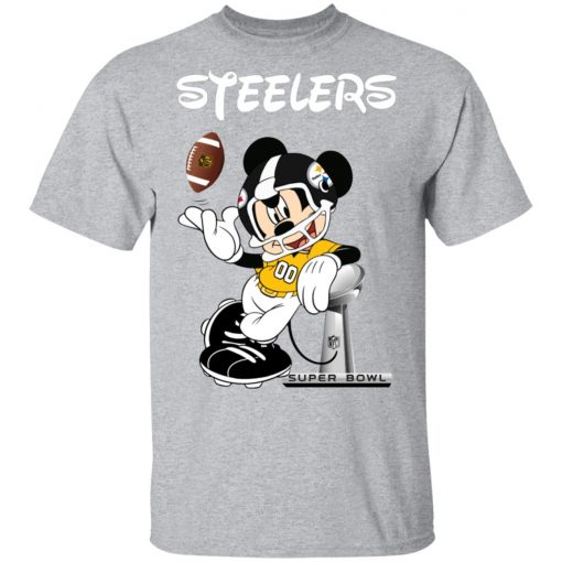 Private: Mickey Steelers Taking The Super Bowl Trophy Football Men's T-Shirt